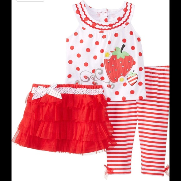 Young Hearts Other - Young Hearts Red Polka Dot & Skirted Leggings Set